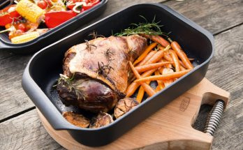 The versatile AGA Roaster with Griddle Lid