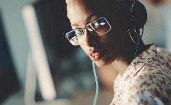 a women wearing headphones