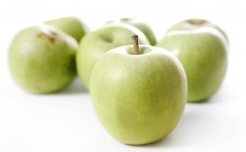 Stack of apples isolated on white background
