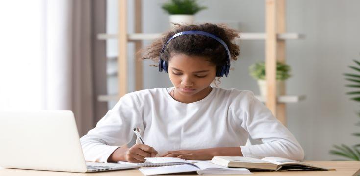a student wearing headphones