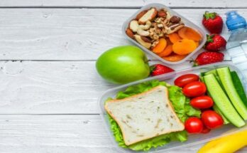 school-lunch-boxes-with-sandwich-and-fresh-vegetables-bottle-of-water-nuts-and-fruits